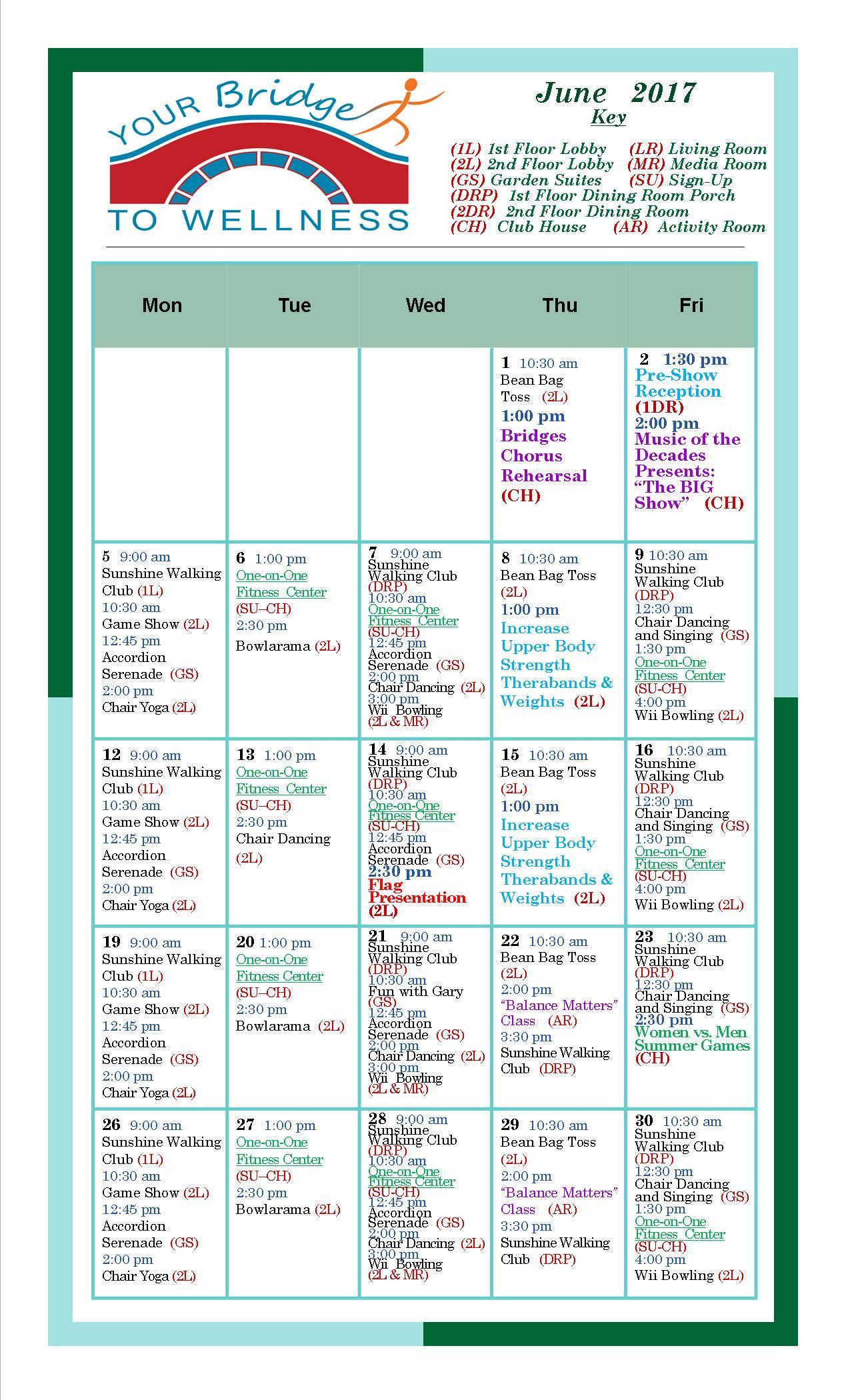 June 2017 Wellness Calendar