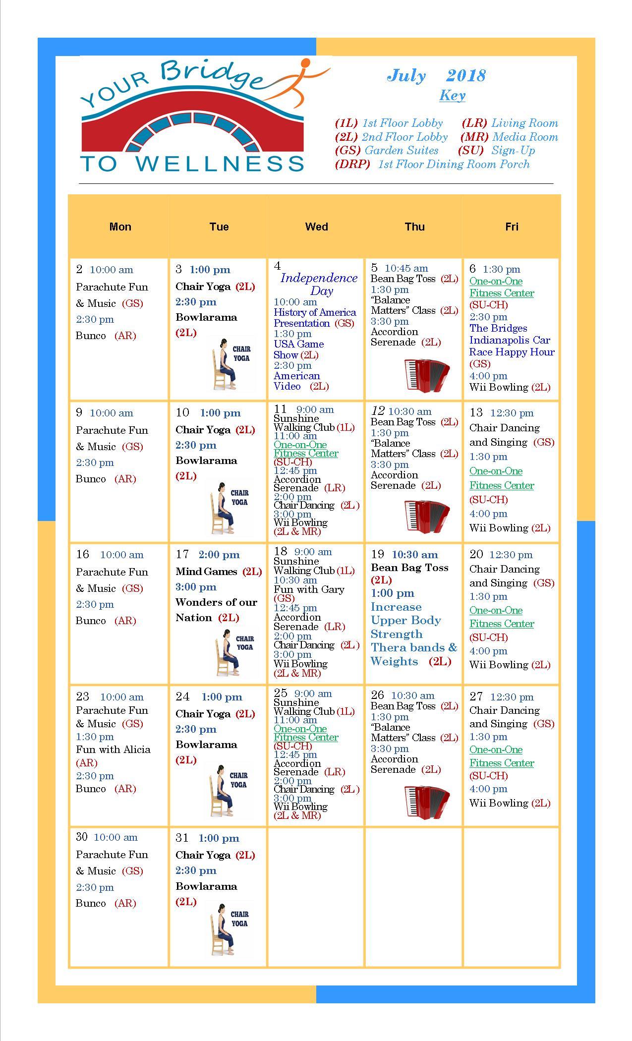July 2018 Wellness Calendar
