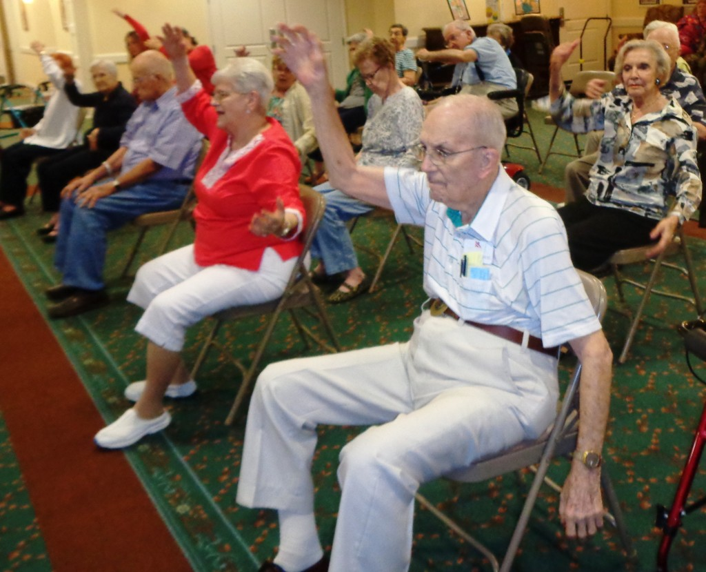 Seniors Chair Dance at Assisted Living Community