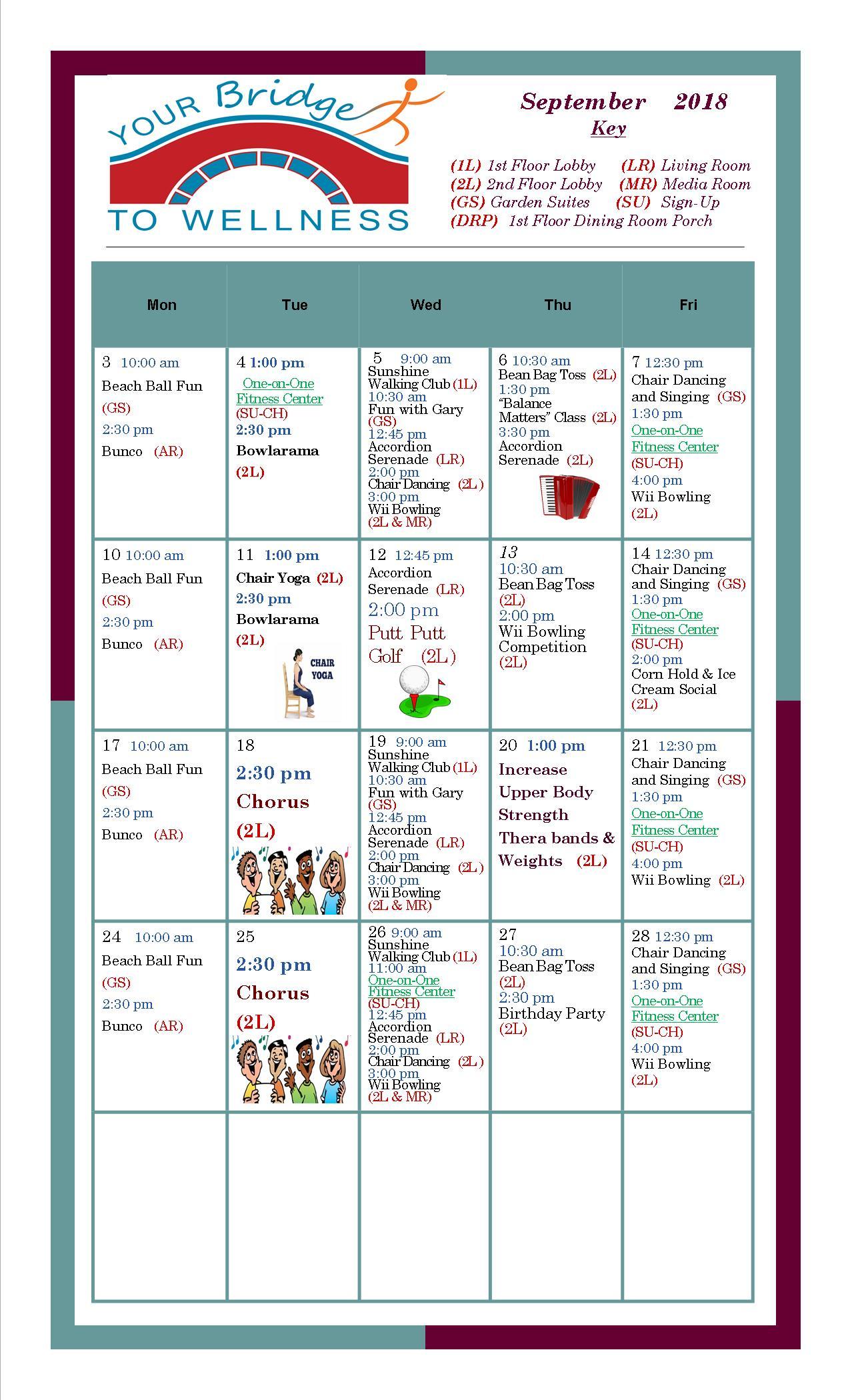 September 2018 Wellness Calendar - Bridges Retirement