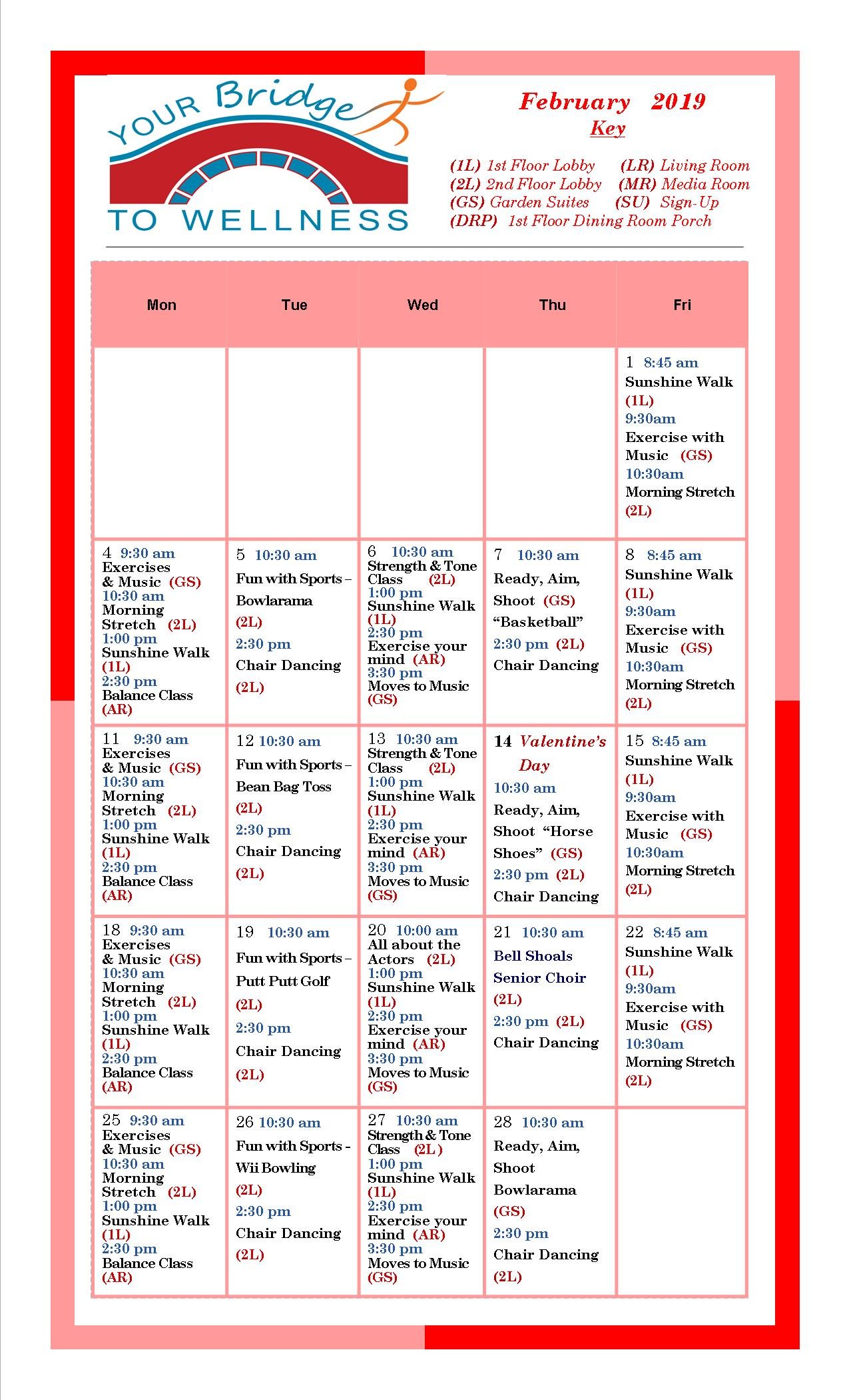 February 2019 Calendar With Ar February 2019 Wellness Calendar   Bridges Retirement Community Brandon